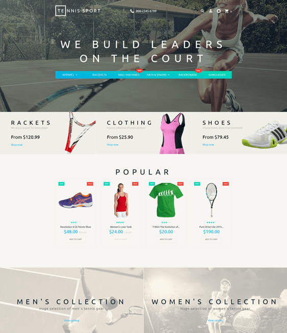 tennis sports fitness shopify themes
