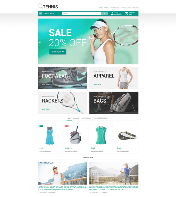 tennis sports woocommerce themes