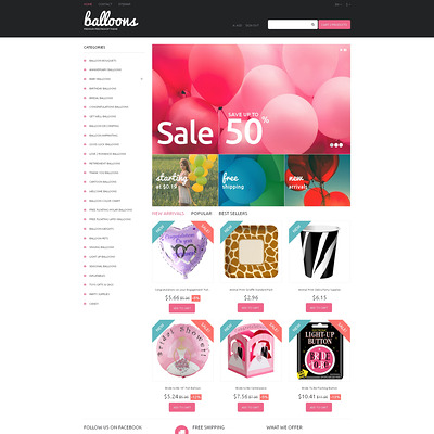 Balloons and Party Items PrestaShop Theme (PrestaShop theme for selling party supplies) Item Picture