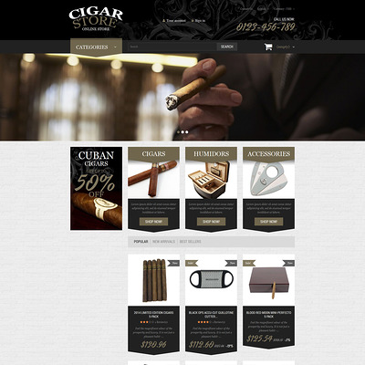 Cigar Smoking Diversion PrestaShop Theme (PrestaShop theme for tobacco, cigar, and e-cigarette stores) Item Picture