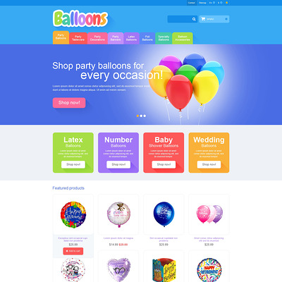 Responsive Balloons Store PrestaShop Theme (PrestaShop theme for selling party supplies) Item Picture