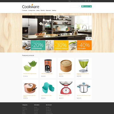 Responsive Cookware Store PrestaShop Theme (PrestaShop theme for kitchen supplies) Item Picture