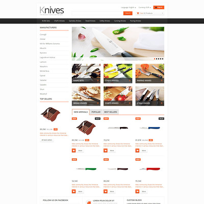 Selling Knives PrestaShop Theme (PrestaShop theme for kitchen supplies) Item Picture