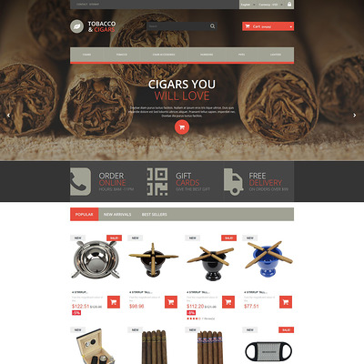 Tobacco and Cigars PrestaShop Theme (PrestaShop theme for tobacco, cigar, and e-cigarette stores) Item Picture
