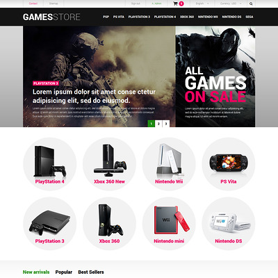 Video Games Consoles PrestaShop Theme (PrestaShop theme for video game stores) Item Picture