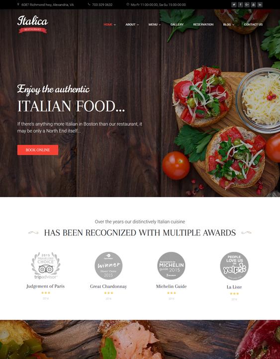 italica italian restaurant wordpress themes