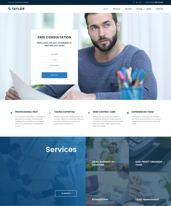 taylor wordpress themes accountants accounting firms