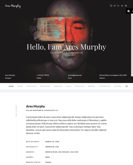ares murphy cv resume joomla templates - Resume Cv Joomla Template
