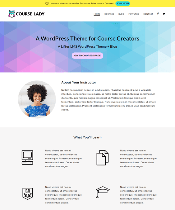 course lady education wordpress themes