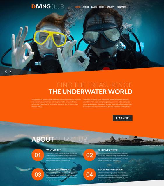 diving sports joomla templates
