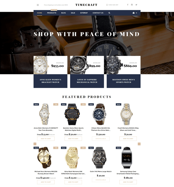 time craft jewelry watch shopify themes