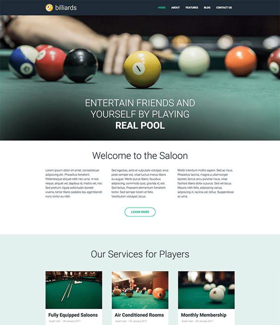 billiards sports joomla templates