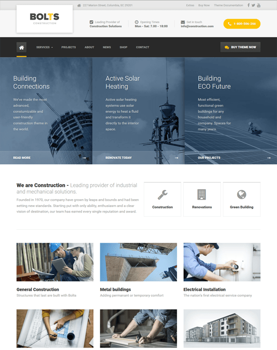 bolts wordpress themes construction companies building contractors