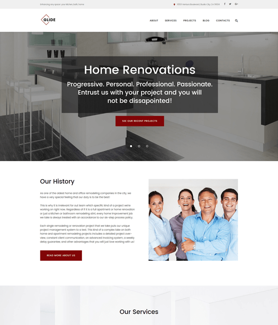 glide wordpress themes construction companies building contractors