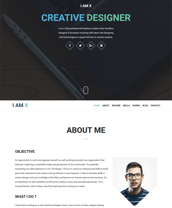 iamx cv resume wordpress themes