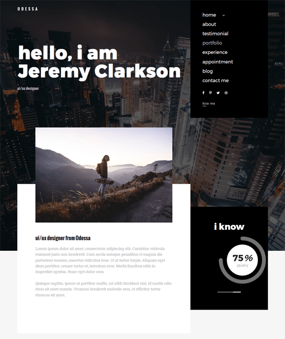 personal cv resume wordpress themes