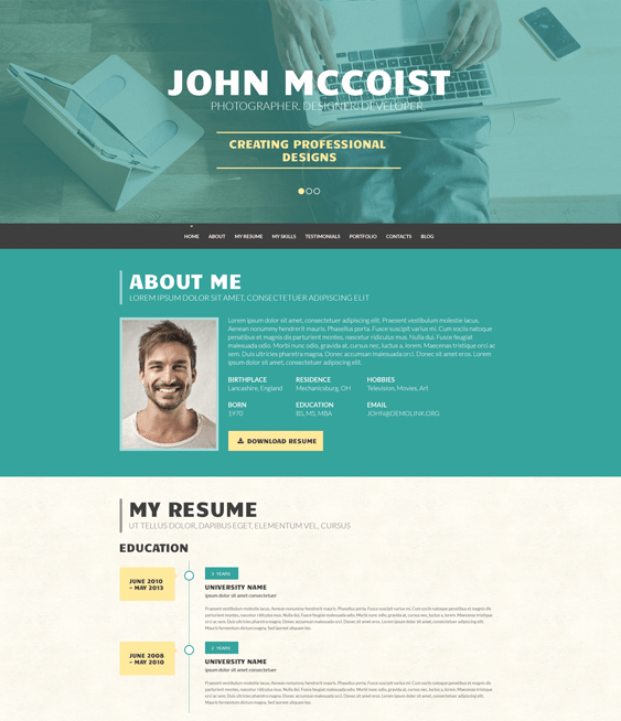 persuasive cv resume wordpress themes