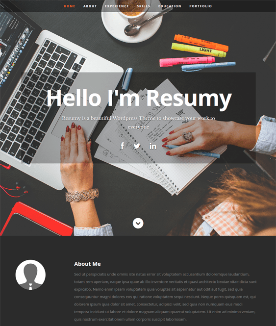 resumy cv resume wordpress themes
