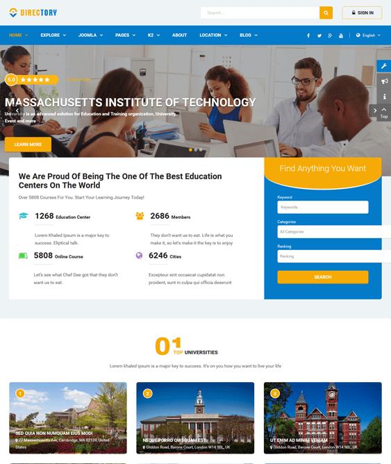 sj directory education joomla templates
