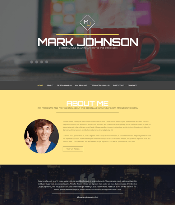 web designer cv resume wordpress themes