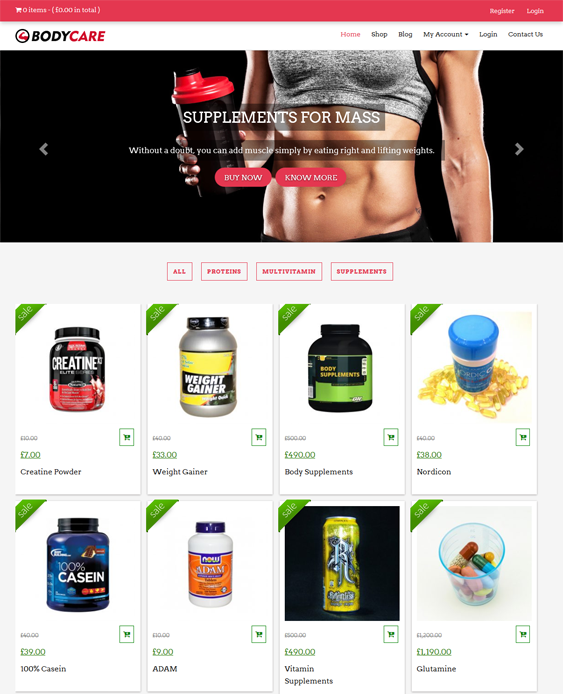 bodycare gym fitness wordpress themes