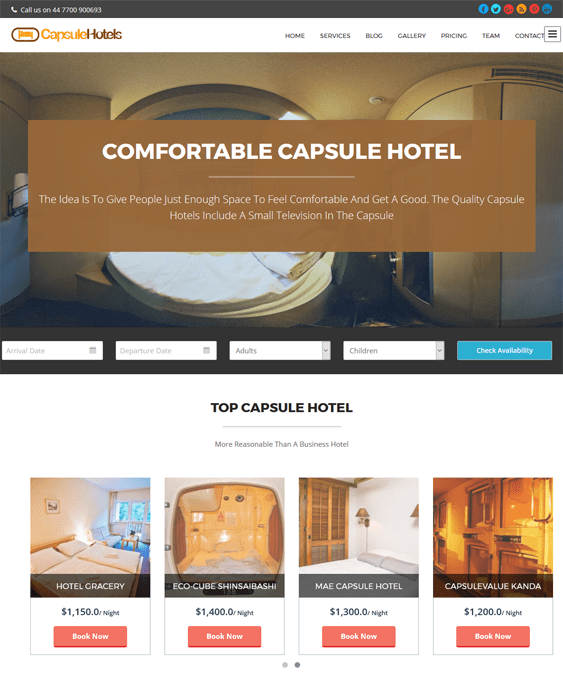 capsule hotel wordpress themes