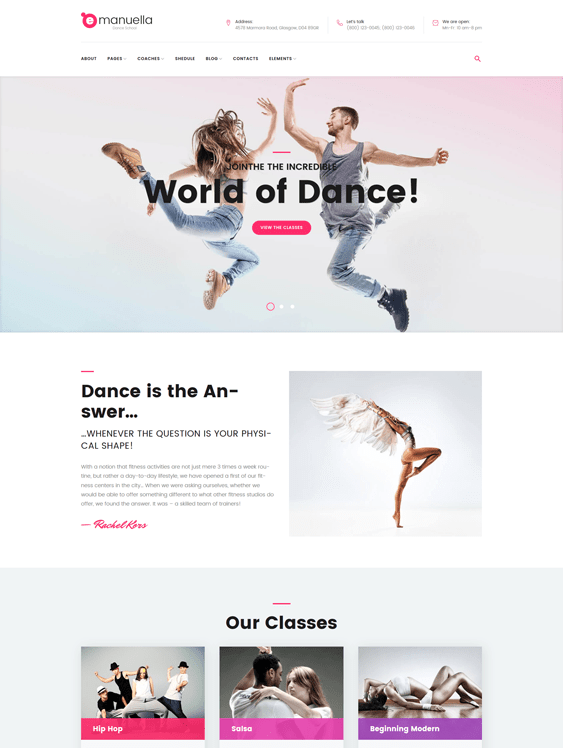 emanuella WordPress theme for dance schools, classes, and studios