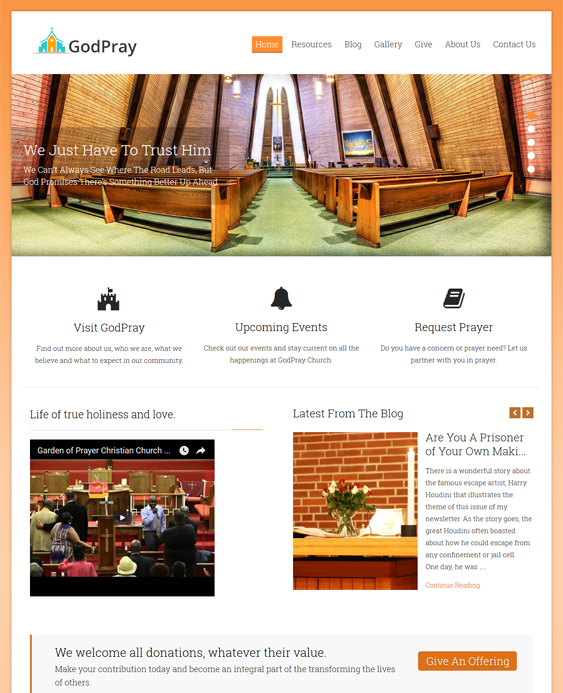 godpray church religious wordpress themes
