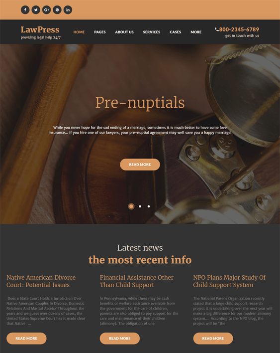 parker wordpress themes lawyers attorneys legal