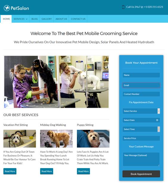 pet salon pets wordpress themes