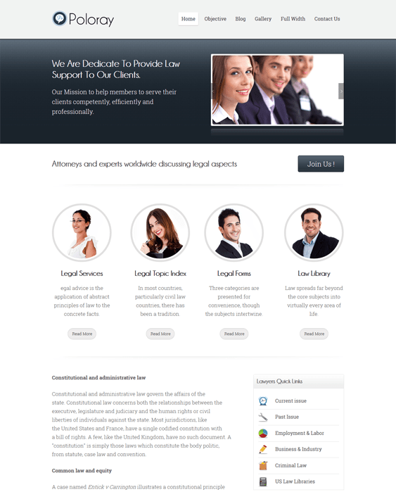 poloray wordpress themes lawyers attorneys legal