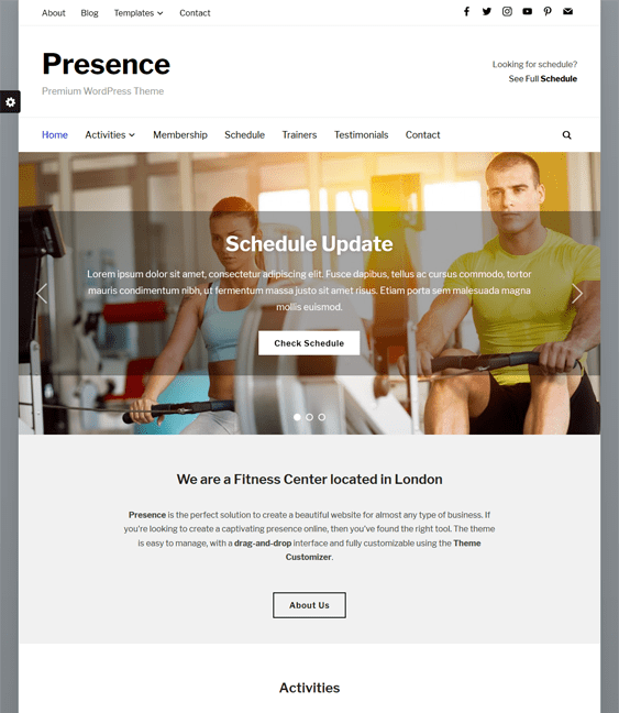 presence gym fitness wordpress themes