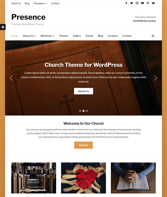 presence church religious wordpress themes