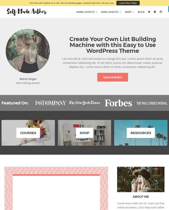 self made writer author wordpress themes