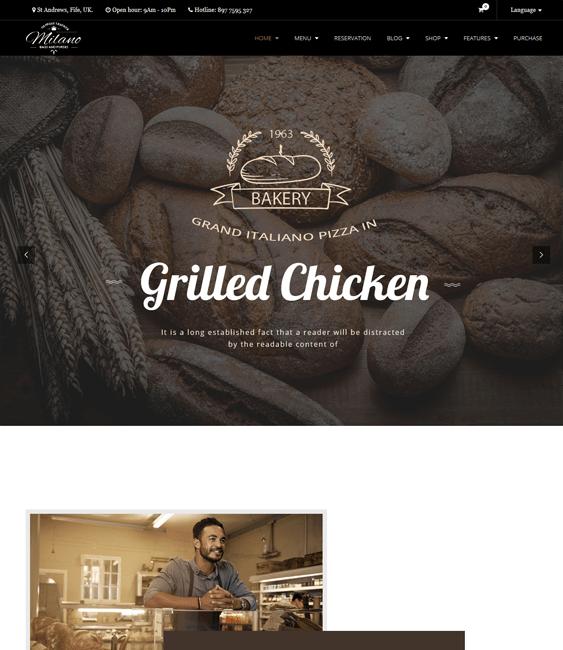 milano bakery restaurant wordpress themes
