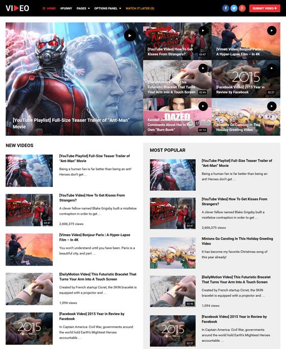 wordpress themes video websites