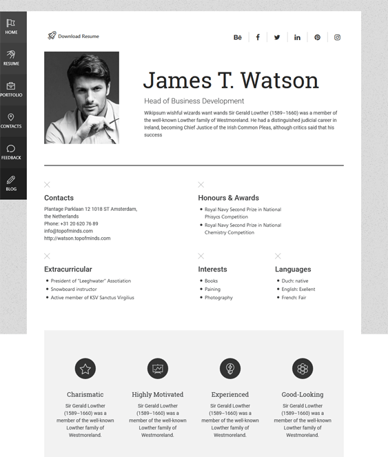 james cv resume wordpress themes