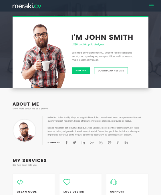 meraki cv resume wordpress themes