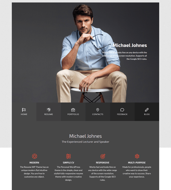 michael cv resume wordpress themes