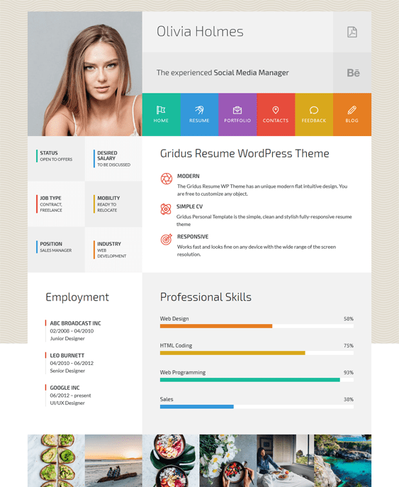 9 of the best cv resume wordpress themes br down