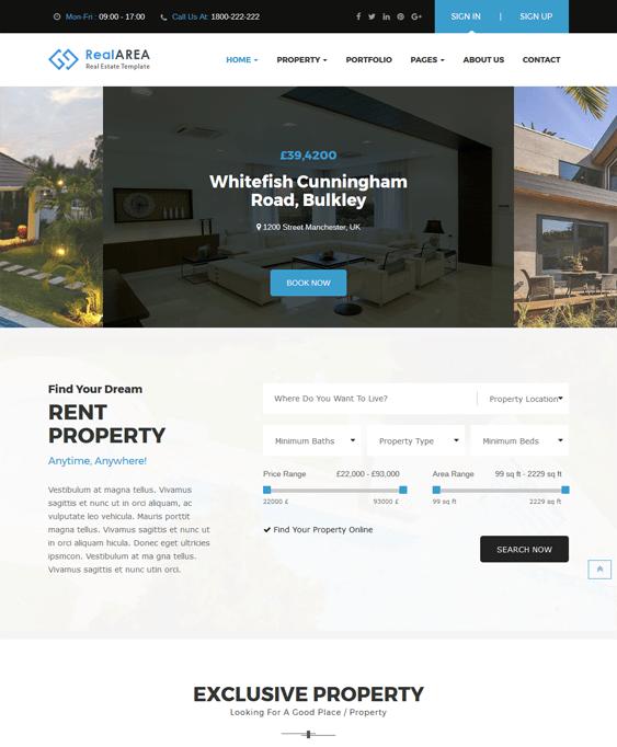 realarea real estate wordpress themes