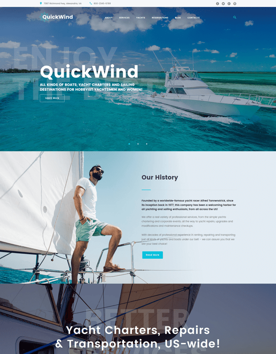 yachting sports wordpress themes