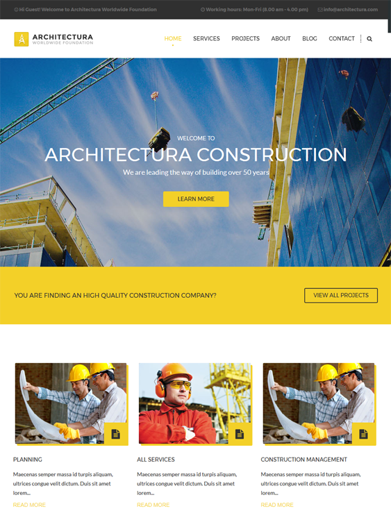 architectura contractor construction companies wordpress themes