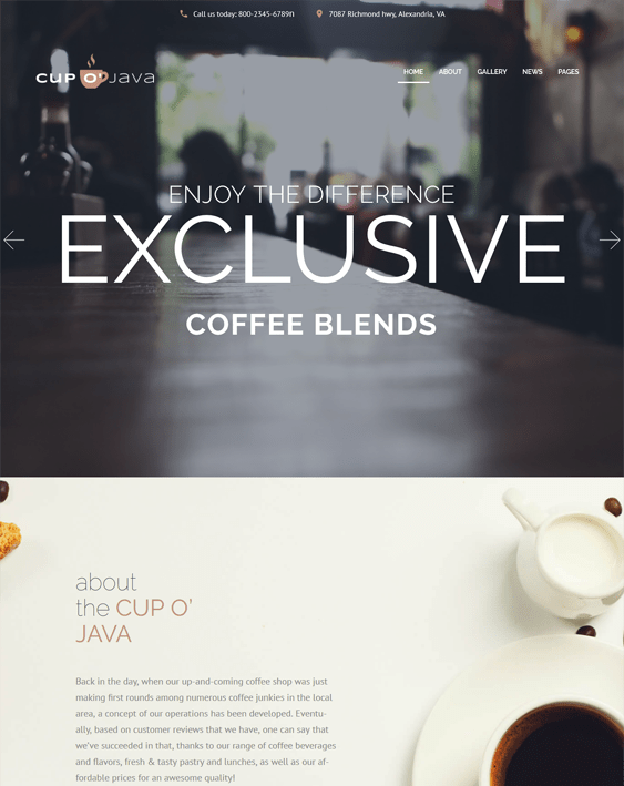 cup of java coffee shop wordpress themes