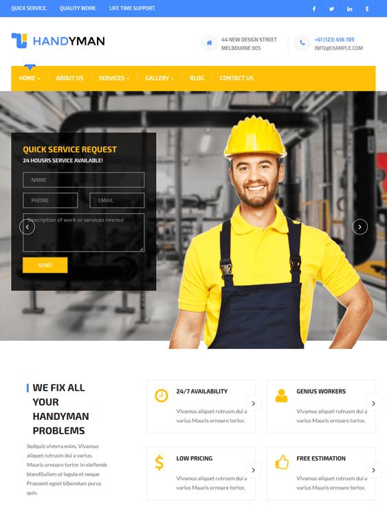 handyman contractor construction companies wordpress themes