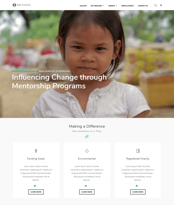 method charity nonprofit wordpress themes