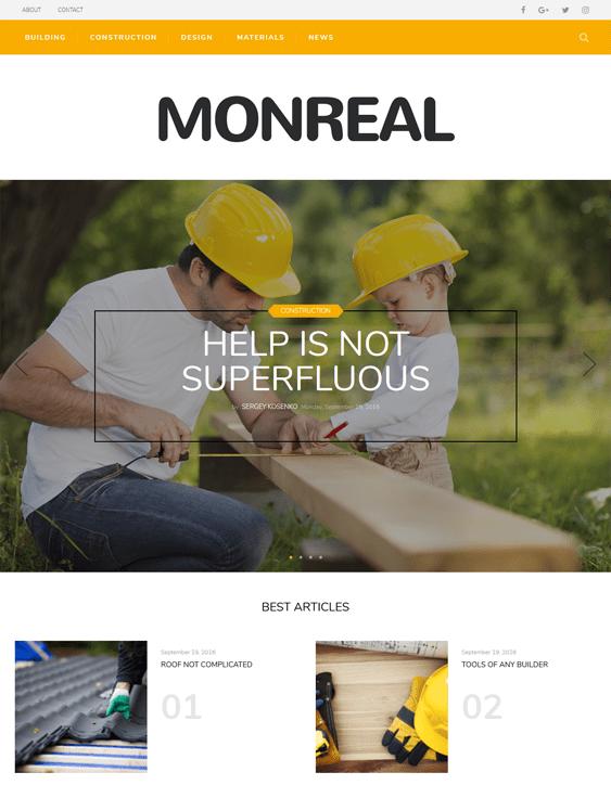 monreal contractor construction companies wordpress themes