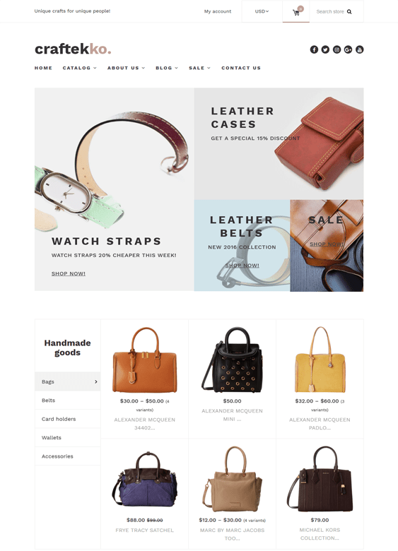 craftekko handbags purses shopify themes