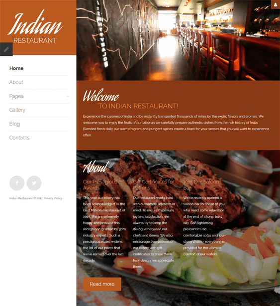 indian restaurant joomla templates