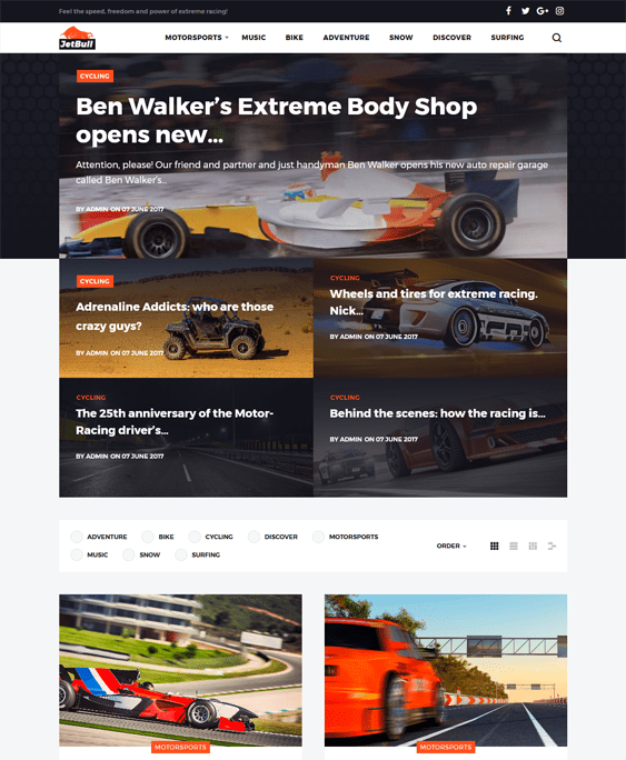 jetbull sports wordpress themes